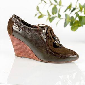 Diesel Dark Brown Leather Wedge Bootie Lace Up